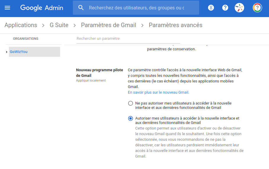 Nouvelle Version Gmail Administration