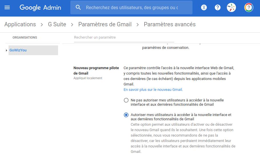 Nouvelle Version Gmail Administration